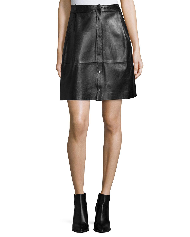 Vince Snap-Front Leather Skirt, Black