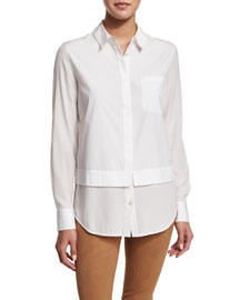 Layered Poplin Button-Down Shirt