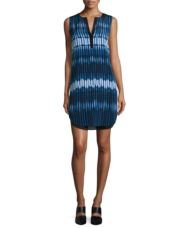 Vince Tie-Dye Print Double-Layer Dress, Women's, Size: L, Monaco/Starlight