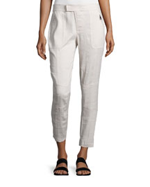 Linen-Blend Patchwork Cargo Pants