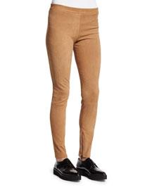 Stretch-Suede Zipper Cuff Leggings