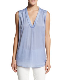 Shirred-Shoulder Sleeveless Top