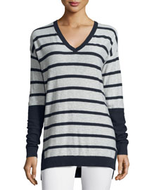 Long-Sleeve Striped V-Neck Shirt