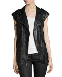 The Moto Infantry Leather Vest, Black
