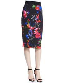 Floral-Print Pencil Skirt