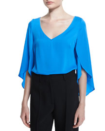 Silk V-Neck Butterfly-Sleeve Blouse