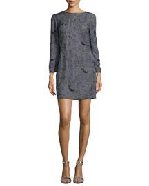 Sequined Cowl-Back Shift Dress