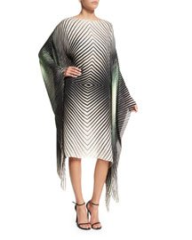 Geometric Chiffon Caftan Dress, Green/Ivory Multicolor