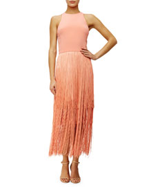 Sleeveless Fringe Column Dress, Sunset