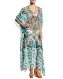 Beaded Lace-Up-Front Long Caftan Coverup