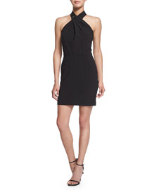 Crisscross Halter Stretch-Knit Dress