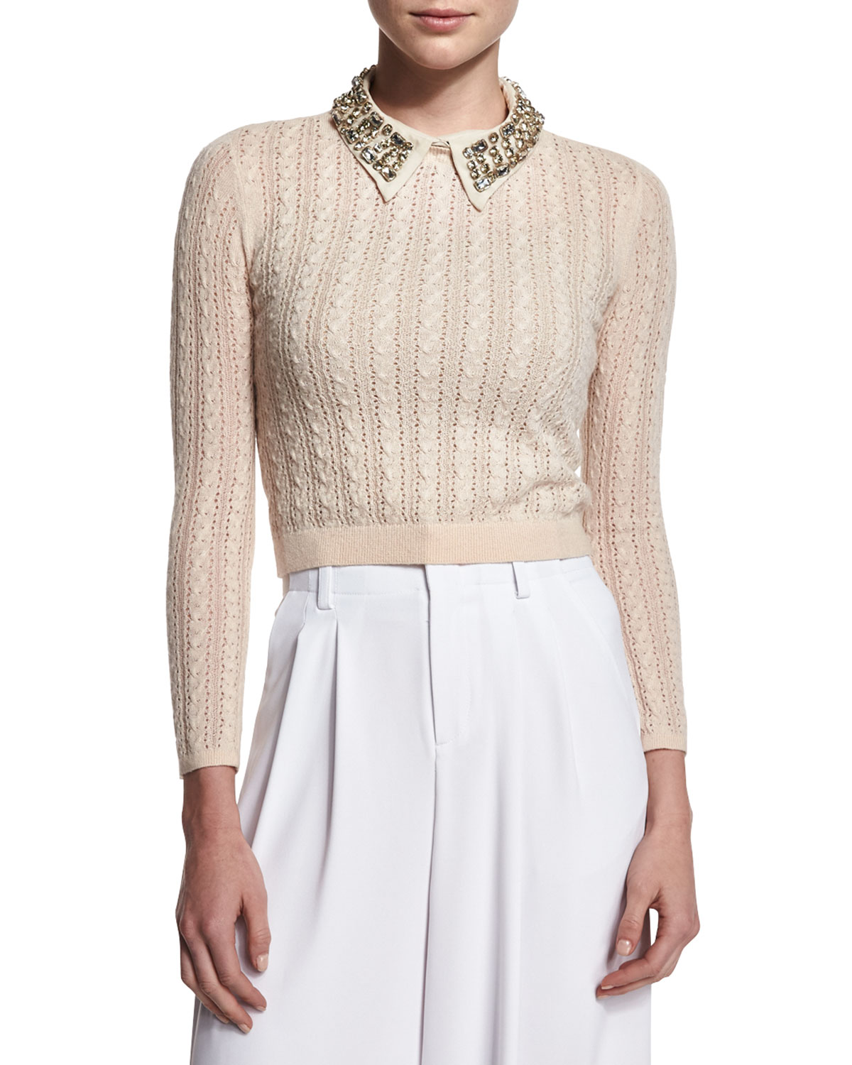 Alice + Olivia Tamsin Cropped Cable-Knit Sweater, Tan, Size: XS