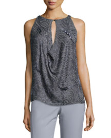 Sequined Draped Keyhole Top