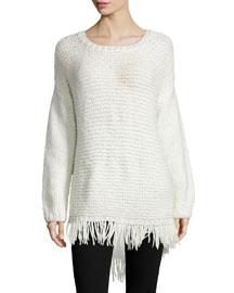 Long-Sleeve Pullover W/Fringe Hem, Ivory