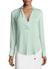 Long-Sleeve Blouse W/ Turnkey-Lock Detail