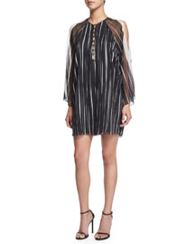 3/4-Sleeve Striped Shift Dress