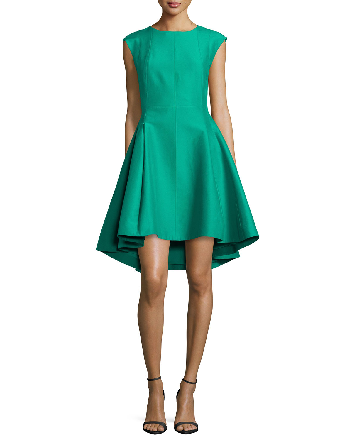 Halston Heritage Cap-Sleeve Faille Ruffled High-Low Dress, Size: 12, Green