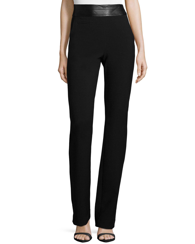 Halston Heritage High-Waist Slim Boot-Cut Pants, Black, Size: 6