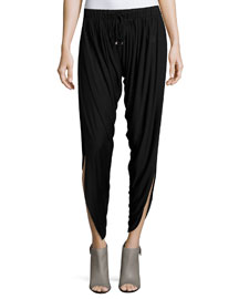 Slit-Hem Drawstring Harem Pants, Black