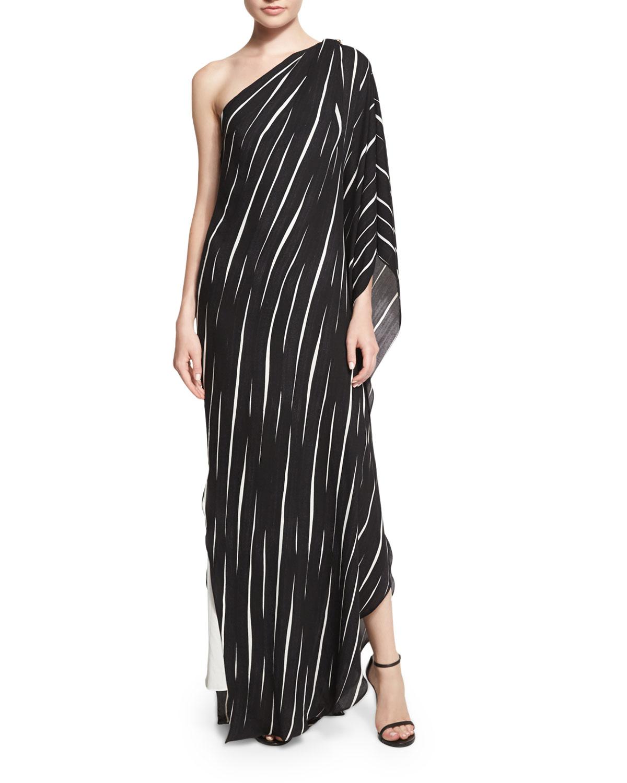 Halston Heritage One-Shoulder Draped Striped Dress, Size: X-LARGE, Black Fld Stp Pr