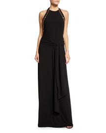 Sleeveless High-Neck Sarong Gown