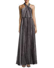 Crisscross Halter Printed Flowy Gown