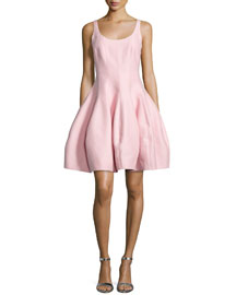 Sleeveless Structured Fit & Flare Dress, Lotus