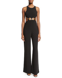 Sleeveless Cutout-Waist Wide-Leg Jumpsuit