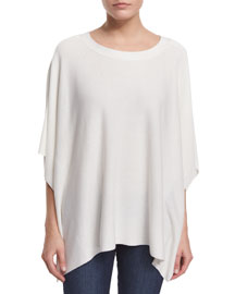 Boat-Neck Poncho Sweater, Eggshell