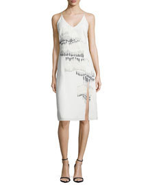 V-Neck Sleeveless Embroidered Dress