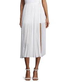 Pleated Midi Skirt W/ Slit