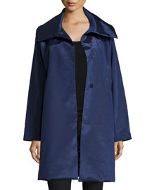 Snap-Front High-Sheen Coat