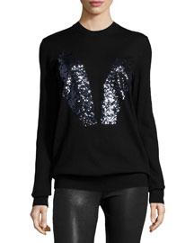 Sequined Bunny Crewneck Sweater, Black