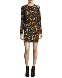 Long-Sleeve Printed Mini Dress, Black