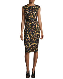 Printed Bodycon Zip Dress, Black