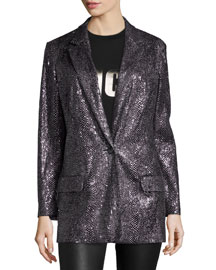 Sequined Long One-Button Blazer, Silver