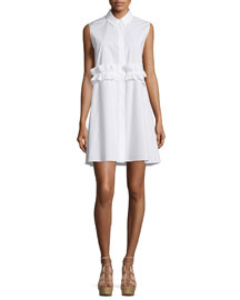 Sleeveless Cotton Ruffle-Trim Shirtdress, Optic White