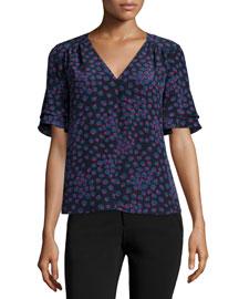Short-Sleeve Floral Silk Top, Navy