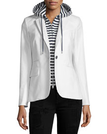 Classic One-Button Jacket, White