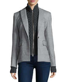 Peaked Lapel Long-Back Jacket, Gray