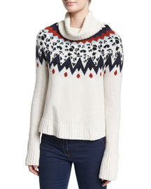 Fair Isle Turtleneck Sweater, Ivory