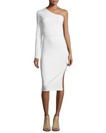 One-Sleeve Side Zip Ponte Dress, Ivory
