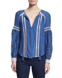 Raglan Embroidered Boho Blouse, French Blue
