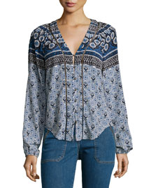 Printed V-Neck Boho Blouse, French Blue