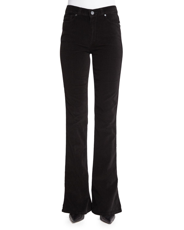 Paige Denim Lou Lou Flare-Leg Jeans, Black, Size: 26