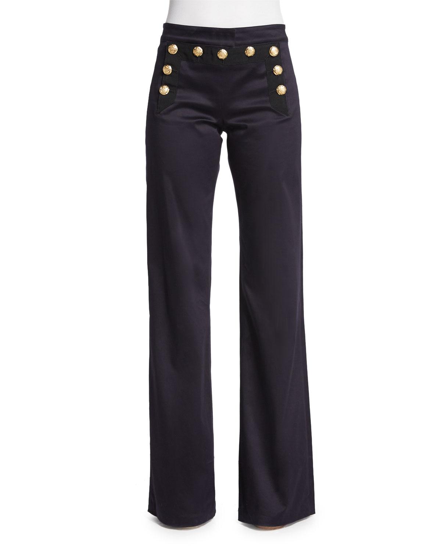 Veronica Beard Wide-Leg Sailor Pants, Navy, Size: 6