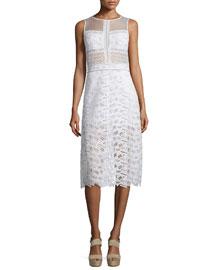 Sleeveless Lace A-Line Dress, Off White