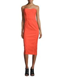 Strapless Bustier Linen-Stretch Dress, Bright Red