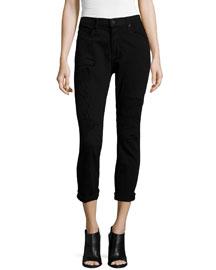 Ryder Obsidian Repair Cropped Skinny Jeans, Black