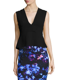 Deep V-Neck Peplum Top, Black